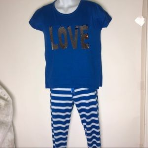 """Mentally Exhausted 2PC PJ Set Women's Small """"Love"""""""
